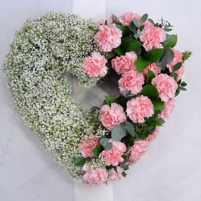 Pink Carnation and Gypsophilia Open Heart